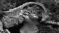 I'm still standing ... (lunaryuna) Tags: scotland caiirngorms carrbridge packhorsebridge oldeststonebridgeinscotland historicarchitecture beautyofdesign river summer season le longexposure lunaryuna blackwhite bw monochrome
