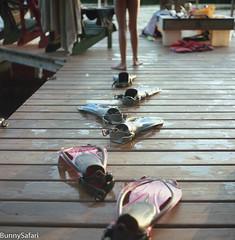 Evolution At The Lake (BunnySafari) Tags: yashicamat124g summer dock fpp dockside muskoka august 120film flippers 2016 magiclight oxbowlake film