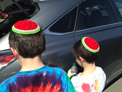 Shug and Shugie in Little Rock with their Watermelon Kippahs (Deep Fried Kudzu) Tags: little rock arkansas watermelon yarmulke kippah