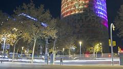 (javierseron) Tags: barcelona lights city views cars people colours espa espaa torre agbar