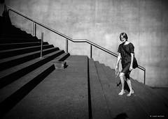 stairway to.... (Ren Mollet) Tags: zug bahnhof woman blackandwhite bw renmollet street streetphotography stairway shadow treppe pen f olympus zuiko