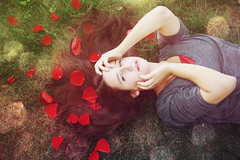 Roses (laurenbrooker) Tags: red roses portrait brown flower color green grass grey petals model hands pretty naturallight rosepetals richcolors