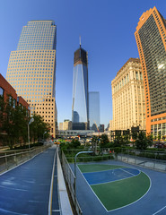Ramp View (P1360917_18_19_20_21_tonemapped) (Michael.Lee.Pics.NYC) Tags: world street bridge newyork west tower basketball skyscraper court ramp afternoon pedestrian center fisheye albany late wtc trade financial hdr photomatix