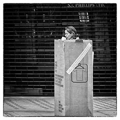 boxed (White_V) Tags: street woman london canon square box drinking streetphotography boxed 2012 whiteandblack