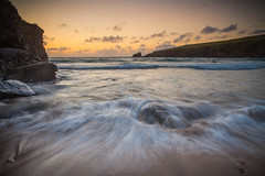 Afterglow (Olly Plumstead) Tags: blue light sunset 2 orange seascape blur beach water clouds canon landscape coast sand rocks long exposure waves mark cliffs ii lee 5d surfers olly hitech holder afterglow plumstead gnd 740l 5d2