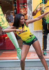 Jamaica Olympic team (Loc BROHARD) Tags: street portrait blackandwhite bw woman black london girl face sport photography dance women expression candid streetportrait jo stranger jamaica olympics puma athlete london2012 candidportrait jo2012 sexu jamaque usainbolt