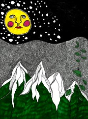 Moon and Mountains (Clippity clop art) Tags: moon snow mountains art drawing vine