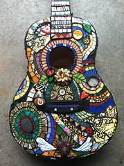 Mosaic Guitar (BaileyWho?) Tags: flowers shells leaves mixed wings whimsy media rocks colorful heart bright guitar mosaic swirls foundobjects whimsical grout millefiore mosaicart
