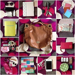 What's in my bag? (Tomie Kourai) Tags: hello sunglasses keys kitty chloe planner meds clinique iphone ninewest orba paintsamples bvulgari cygnett ipad2