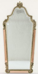 39. Hollywood Regency Brass & Glass Hall Mirror