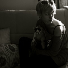 her majesty and her pet (peculiarnothings) Tags: portrait pet selfportrait cat self kitten
