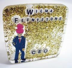 Wilma Flintstone, CEO - Shower Art (rosalie_gale) Tags: glitter weird rubber odd homedecor waterproof sarcasm bathroomart whiteelephantgift suctioncup bathroomdecor showerart