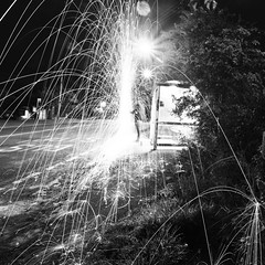 Peeing In To The Wind! ([Nocturne]) Tags: lighting street nightphotography light blackandwhite lightpainting night fire wire busstop squareformat spinning local sparks nocturne wirewool wwwnoctographycouk