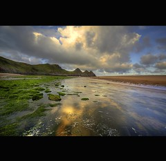 """ FLOWING TIDAL RIVER "" (Wiffsmiff23) Tags: swansea sunrise river moss tide tidal threecliffsbay thegower"