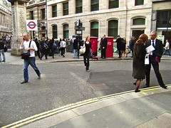 city commute (cubicspace) Tags: road street city morning people london girl underground walking subway photo office workers pavement walk capital tube tie bank pedestrian olympus daily business suit busy rush commute postbox casual conversation oneway handbags talking offices manbags finance doubleyellow