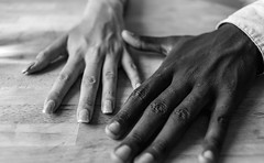 colour doesn't matter (Zinografie) Tags: bw white black colour closeup hands peace sharp together sw multikulti