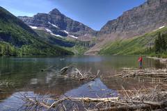 Taking Time Out (dbushue) Tags: lake mountains nature water reflections landscape fishing nikon montana logs glaciernationalpark 2012 gnp deadfall coth supershot uppertwomedicinelake d7000 damniwishidtakenthat coth5 dailynaturetnc12 sunrays5 tpslandscape