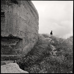 the man and the bunker • granville, normandy • 2012 (lem's) Tags: man rolleiflex granville wwii bunker normandie normandy homme autaut blockahus