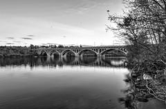 Crossings (Daphilta) Tags: bridge autumn sunset blackandwhite bw canada fall nikon university flickr saskatchewan nikkor hdr 2470 d700