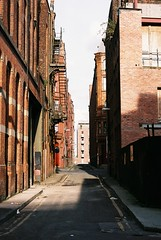 Northern Quarter or New York? (zawtowers) Tags: street new york city slr film vertical vintage manchester back nikon view centre horizon feel location 200 vista quarter plus f80 agfa northern nikkoraf2880mmf3356g