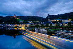 Into the Night (spcoonley) Tags: blue light reflection river germany deutschland europe long exposure fuji trails hour fujifilm cochem mosel reichsburg xe2 xf14mmf28