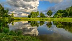 tranquil (Mris Pehlaks) Tags: blue city clouds coast green landscape latvia nature outdoor reflection riga sky summer trees