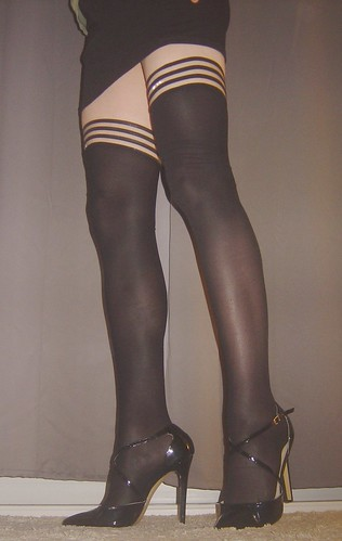 my strappy heels with skirt and suspenders