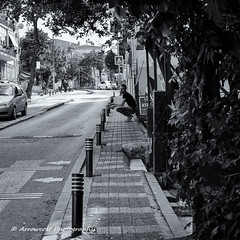 Street 177 (`ARroWCoLT) Tags: streetphotography street sokak perspective human people blackandwhite monochrome siyahbeyaz samsung nxmini f18 skdar istanbul turkey turkei trkiye bw blackwhite crouchdown sidewalk