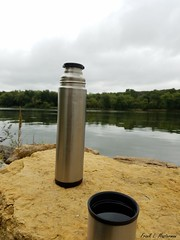 "I'll Have Mine 'On the Rocks' (""Just an ol' nature boy takin' a picture"") Tags: rock river water riverbank shoreline coffee thermos jug bottle"