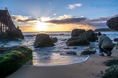 Catherine Hill Bay (TMCiantar) Tags: clouds morning dawn sunrise sun reflection water ocean sea beach bay sand salt calm