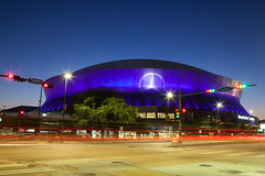 New Orleans Superdome (reggiewinfield) Tags: america architecture basketball cityscape downtown dusk light louisiana mercedes modern new neworleans nfl orleans sign sports stadium superbowl superdome traffic venue view