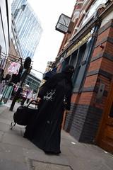 DSC_0308 Petticoat Lane Market London Fullers The Astronomer English Pub with a Muslim Lady in a full Black Burqa or Burkha (photographer695) Tags: petticoat lane market london fullers the astronomer english pub with muslim lady full black burqa or burkha