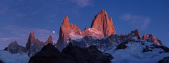 The Majestic Disappearance of the Moon | Mount Fitz Roy, Patagonia (v on life) Tags: mountfitzroy cerrofitzroy elchaltn patagonia southernpatagoniaicefield argentina southernandesmountains sunrise moonset moon light clouds pano panorama panoramic montefitzroy lagunadelostres mountains peaks glacier