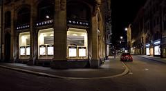 The Jeweler Mezger (Andreas Mezger - Art Photography) Tags: rot mezger jeweler basel store juwelier night street empty red car mercedes rich nikon d810 20mm