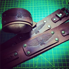 Every purchase come with a free gift. Logo bracelet. For boys and gurls. #steampunk #leathercraft #bracelet #skull #leather (tovlade) Tags: face mask cyberpunk cyber goth make up goggles girl punk postapocalyptic postapocalypse black steampunk leather hand made larp cybergoth dieselpunk plague doctor