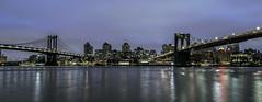 Two Bridges 2 (rayordanov) Tags: manhattanbridge brooklynbridge bluehour nightlights eastriver manhattan manhattanskyline newyorkcity nyc brooklyn