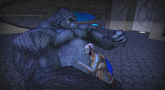 A Gorilla and a Gynoid on a Spaceship (makin.dover) Tags: secondlife sl scifi gorilla gynoid ufo