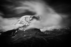 Cloud Dance (TroyMason) Tags: mountrainier moody longexposure national park wonderland trail hike backpack blackandwhite berkeleypark mountain glacier snow ice clouds wind landscape drama
