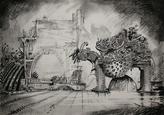 'Industry' 1990. (Dave Whatt) Tags: drawing charcoal pencil blackandwhite surrealism strange scifi artonpaper scary mechanical