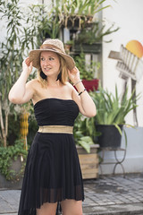 Maddy (BillySedoun) Tags: woman hat blond blackdress paris 2016 afternoon sunny streetart rvb saintemarthe streetphotography blueeyes