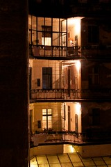 Budapest balconies (mattermatters) Tags: night hungary balcony budapest nighttime balconies walkways appartmentbuilding appartments