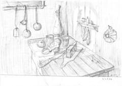 Skizze 09 (23.04.1974) (Armin Hollinger (1924-1984), Schweizer Maler) Tags: stilllife kitchen cheese clouds landscape fire schweiz switzerland sketch artist suisse wine swiss zurich dramatic wolken stilleben basel painter unknown küche zürich 20thcentury landschaft brueghel rembrandt käse wein thalwil peintre maler unbekannt skizze breughel ölbild ölgemälde rembrandtvanrijn jacobvanruisdael hollinger ruysdael kunstmaler janbruegheltheelder oelbild swissartist jacobvanruysdael janbrueghel 20jh schweizerkünstler swisspainter peintresuisse peuconnu oelgemälde dutchlandscapepainting artistesuisse arminhollingerberini arminhollinger germainehollingerberini schweizermaler
