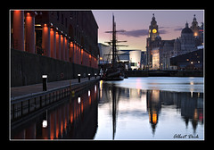 Albert Dock (mrcheeky2009) Tags: sunset clock water liverpool reflections calm tallship albertdock liverbirds liverbuilding liverpoolmuseum