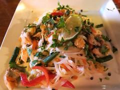 Drunken noodles at Spice Root (Ruth and Dave) Tags: food chicken vegetables dinner restaurant plate thai meal noodles squamish drunkennoodles spiceroot
