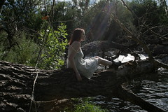 The Sensation of Sunlight (Miss Marisa Renee) Tags: trees light red summer sun sunlight white nature girl beauty leaves female river hair outdoors dress dam hike redhead adventure rays beams xhouseofleaves