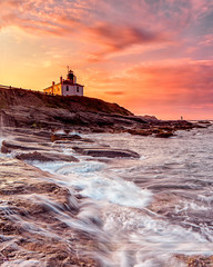 Beavertail LightHouse (whoisnd) Tags: ocean ri pink light red portrait brown lighthouse house motion water colors yellow rock clouds sunrise canon golden fishing fisherman rocks colorful waves slow fishermen rhodeisland beavertail 24mm filters jinx jamestown tse cpl goldenlight beautifulsunrise beavertailstatepark gnd 24tse 5d2