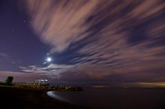 End of the beach (Tanguero Chino) Tags: longexposure moon toronto night clouds stars lakeshore