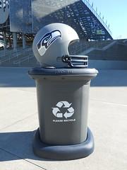 Seattle Seahawks Fan Cans Recycling Bin (Fan Cans) Tags: seattle green college football baseball bottles stadium nfl seahawks fans cans recycling ncaa bins sustainability mlb receptacles fancans