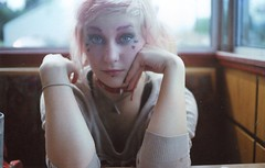 (Emily Savill) Tags: portrait film girl fashion lady analog 35mm booth happy pretty g diner days iso 200 electro mm asa 135 35 walgreens yashica toshi dollfille