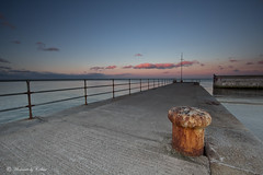 The harbour at sundown (Canon Queen Rocks (1,610,000 + views)) Tags: ireland sea water clouds horizon bluesky structure walls railings irishsea cowicklow brayharbour